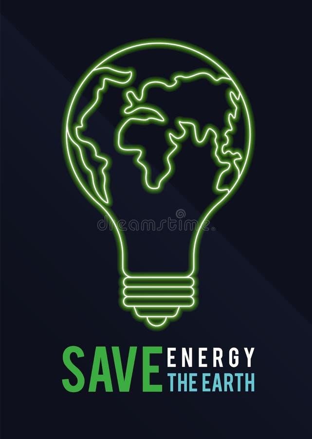 Знамя часа земли с спасением энергии спасения вектор знака мира шарика текста и зеленого света земли конструирует иллюстрация вектора