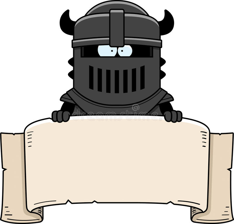 Знамя черного рыцаря шаржа иллюстрация вектора