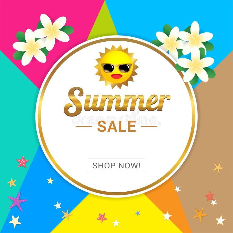 Знамя шаблона продажи лета, иллюстрация вектора в красочное иллюстрация штока