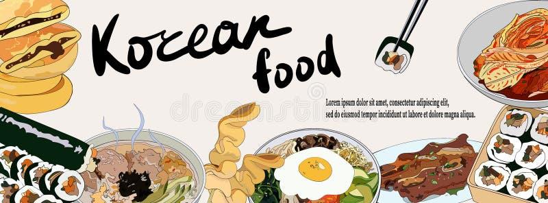 Знамя шаблона с набором корейских блюд для вебсайтов или социальной сети Традиционный корейский bibimbap блюд, hotteok, kimchi, иллюстрация вектора