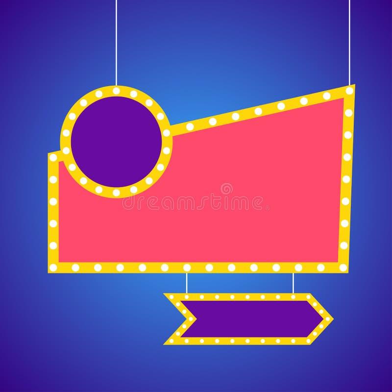 Знамя шильдиков электрических лампочек шатёр иллюстрация вектора