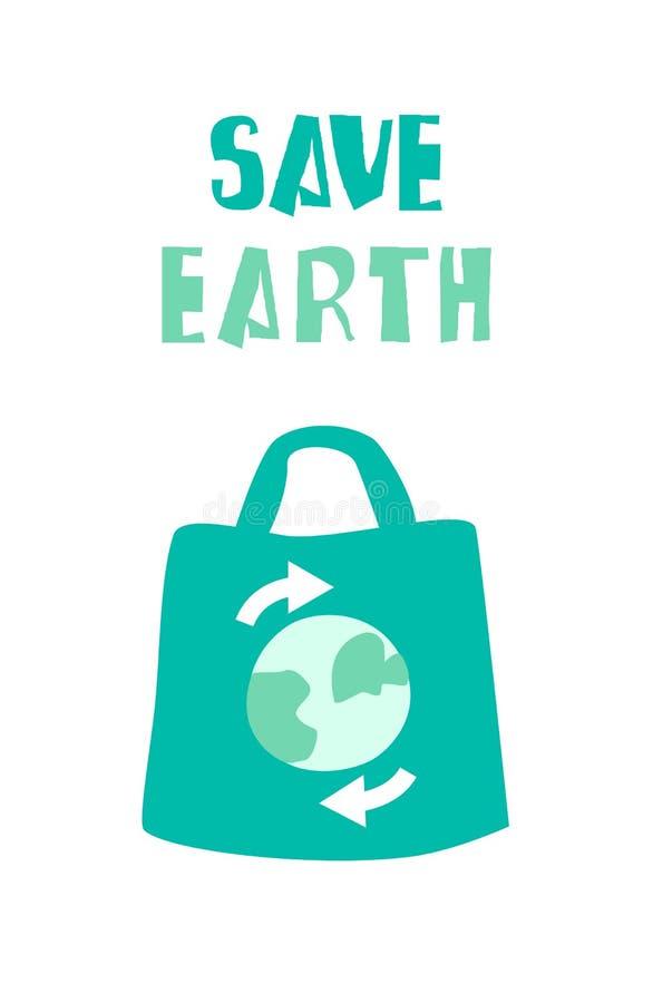 Знамя экологичности с сумкой eco и землей текста спасительной r бесплатная иллюстрация