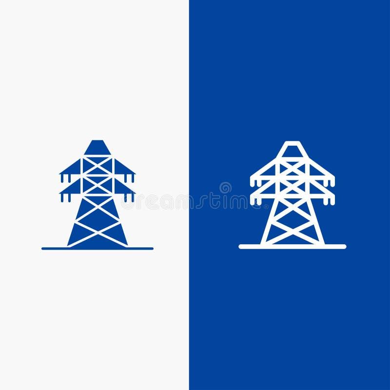 Знамя электрических, значка линии и глифа знамени твердого значка энергии, линии передачи, башни передачи и глифа голубого твердо бесплатная иллюстрация