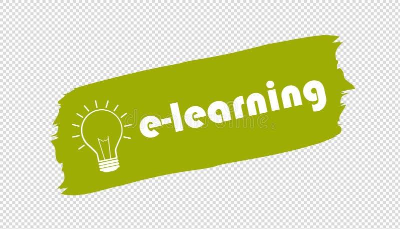 Знамя Brushstroke обучения по Интернетуу и лампочки - зеленая иллюстрация вектора - изолированное на прозрачной предпосылке иллюстрация штока