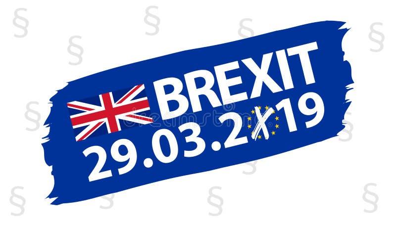 Знамя Brushstroke Brexit - голубая иллюстрация вектора - изолированное на белой предпосылке иллюстрация штока