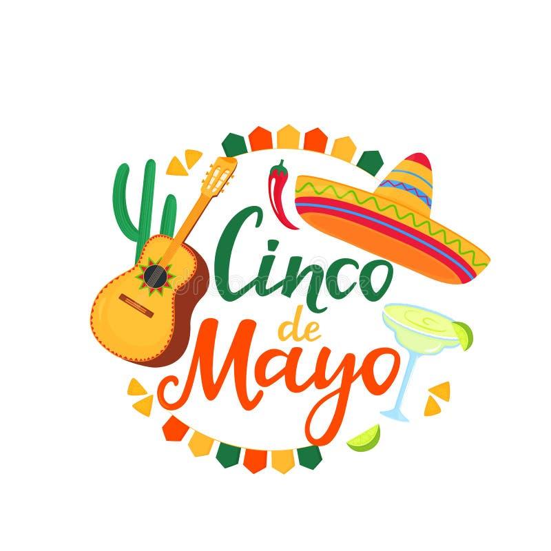 Знамя Cinco de Mayo r 5-ое -го май Праздничное мексиканское знамя Гитара, Маргарита, Sombrero бесплатная иллюстрация