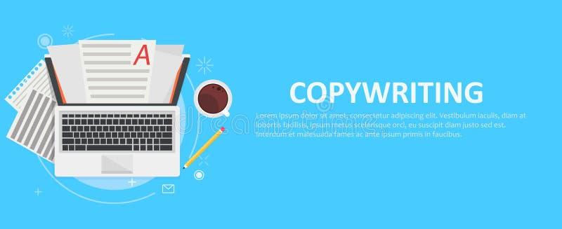 Знамя copywriting Компьютер с бумагами, кофе и карандашем бесплатная иллюстрация