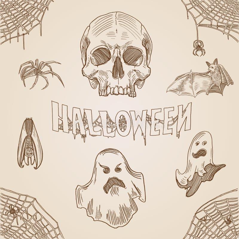 Знамя doodle гравировки партии хеллоуина винтажной нарисованное рукой иллюстрация штока