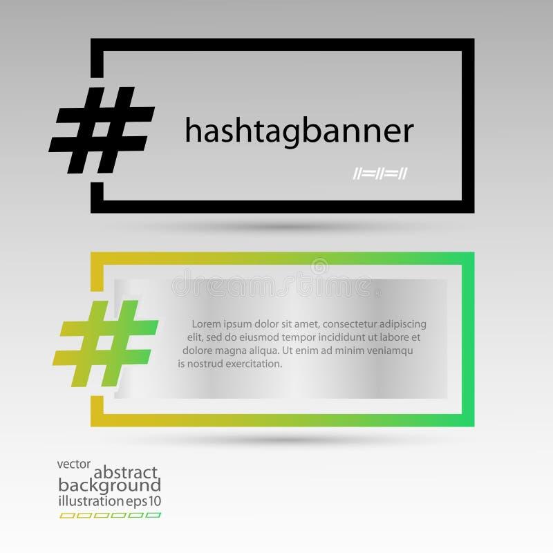 Знамя Hashtag прямоугольное для черноты предпосылки и пестротканого прозрачного вектора иллюстрация штока