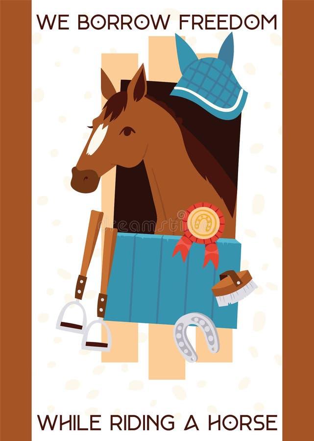 Знамя jokey мультфильма с лошадью в конюшне, оборудовании для верховой езды, стремени, подкове, equine с призом вектор бесплатная иллюстрация