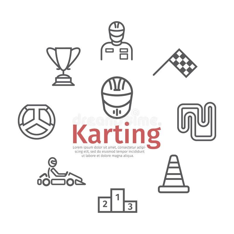 Знамя Karting Линия набор значка Скорость участвуя в гонке знаки r иллюстрация штока