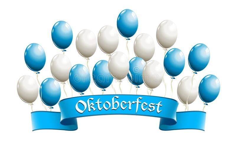 Знамя Oktoberfest с воздушными шарами в традиционных цветах Bavari стоковые изображения