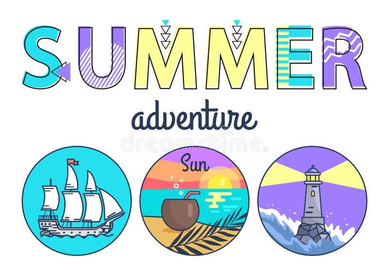Знамя Promo приключения лета с круглыми Seascapes иллюстрация штока