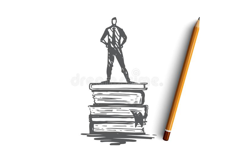 Знание, книга, образование, информация, учит концепцию Вектор нарисованный рукой изолированный иллюстрация штока
