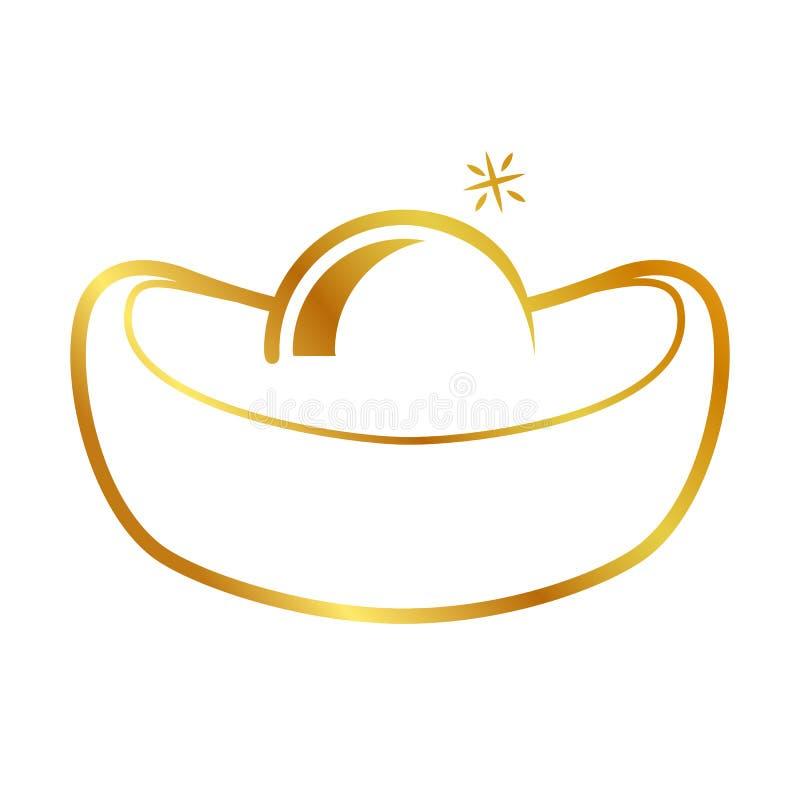 Значка значка вектора слиток простого золотой китайский иллюстрация штока