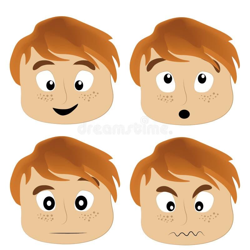 4 значка выражений лица иллюстрация вектора