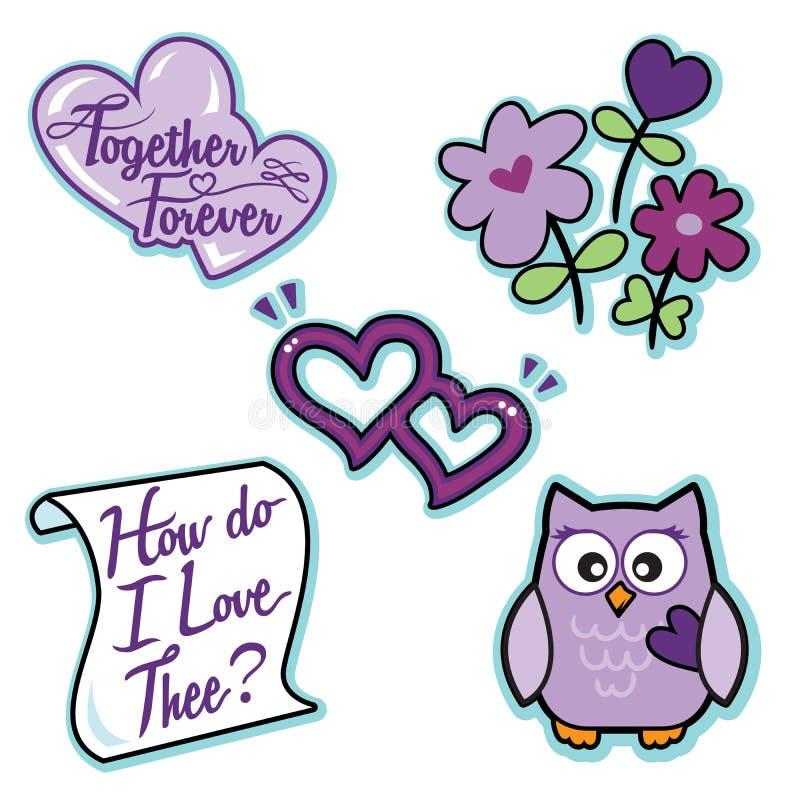 Значка влюбленности валентинки письмо сердец сыча цветков фиолетового установленное иллюстрация вектора