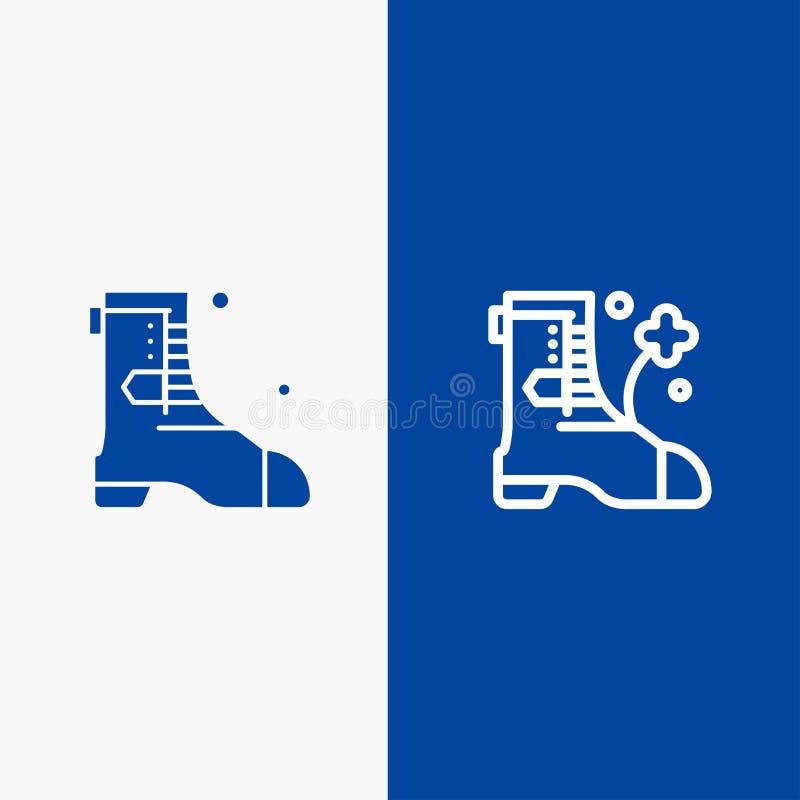 Значка линии и глифа знамени твердого значка ботинок, ботинка, линии Ирландии и глифа знамя голубого твердого голубое иллюстрация вектора