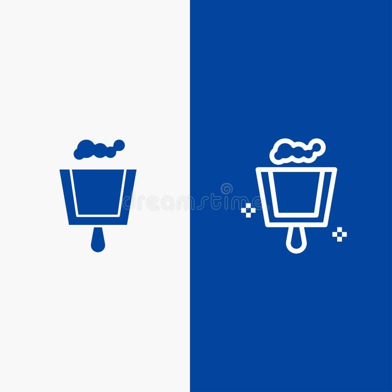 Значка линии и глифа знамени твердого значка веника, Dustpan, линии стреловидности и глифа знамя голубого твердого голубое иллюстрация штока