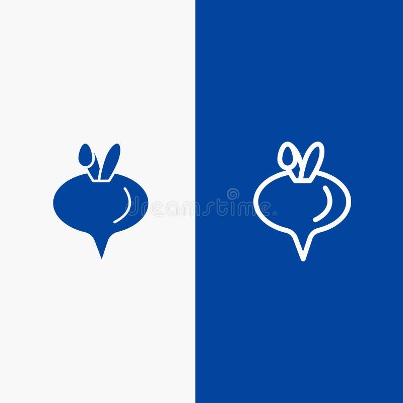 Значка линии и глифа знамени твердого значка еды, турнепса, линии овоща и глифа знамя голубого твердого голубое иллюстрация вектора