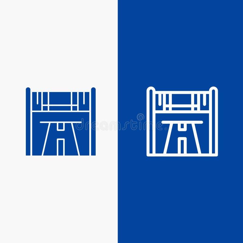 Значка линии и глифа знамени твердого значка контрольно-пропускного пункта, начала, гонки, линии дороги и глифа знамя голубого тв бесплатная иллюстрация