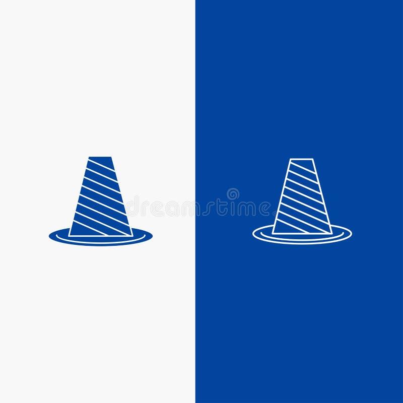 Значка линии и глифа знамени твердого значка конуса, защиты, дороги, барьера, стопа, предупреждающей линии и глифа знамя голубого иллюстрация вектора