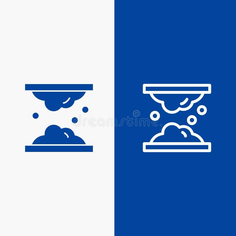 Значка линии и глифа знамени твердого значка холестерола, дерматологии, липида, кожи, заботы кожи, линии кожи и глифа знамя голуб иллюстрация вектора