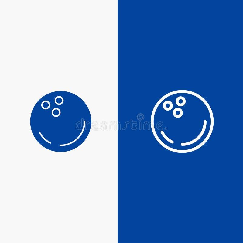 Значка линии и глифа знамени твердого значка шарика, боулинга, спорт, линии забастовки и глифа знамя голубого твердого голубое иллюстрация штока