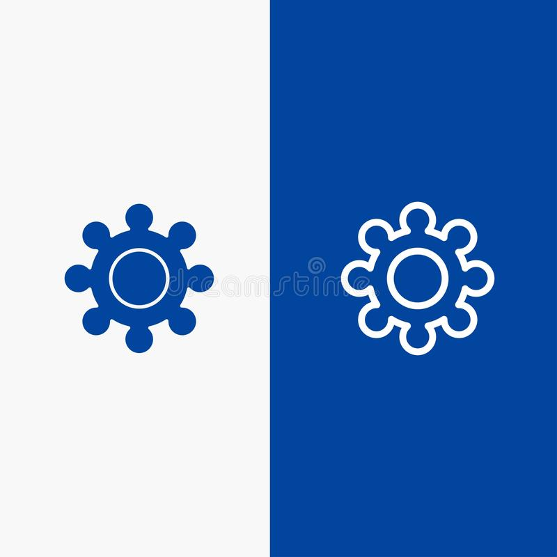 Значка линии и глифа знамени твердого значка шестерни, установки, линии Cogs и глифа знамя голубого твердого голубое иллюстрация вектора