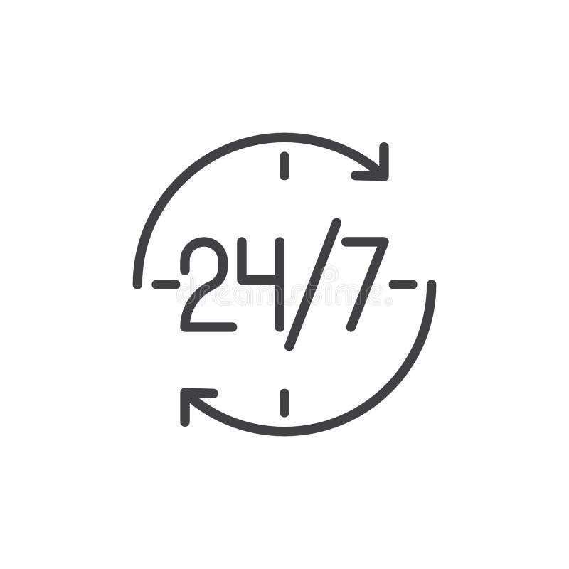 24 значка плана 7 часов бесплатная иллюстрация