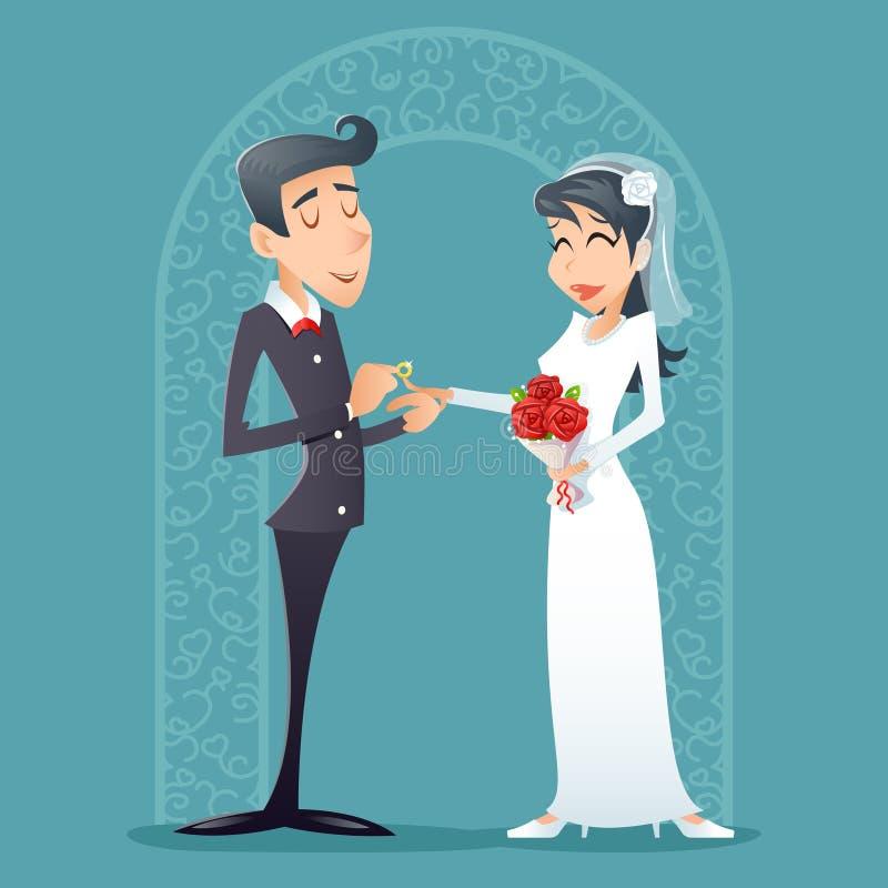 Значка символа жениха и невеста винтажная счастливая усмехаясь иллюстрация вектора дизайна шаржа мужского женского ретро иллюстрация вектора