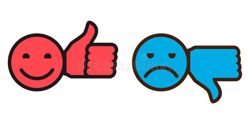 2 значка - улыбки с большим пальцем руки вверх и большим пальцем руки вниз иллюстрация вектора