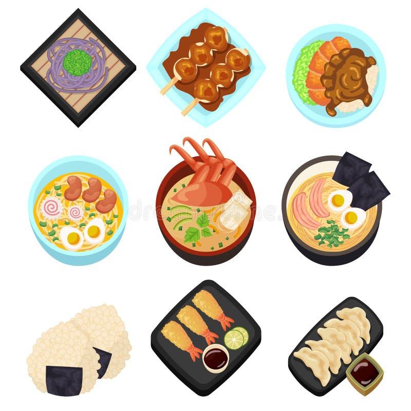 Значка шаржа еды Японии иллюстрация взгляд сверху ресторана комплексного меню вкусного азиатская иллюстрация вектора
