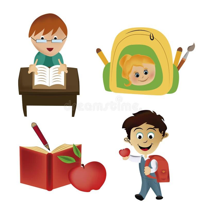 4 значка для школы иллюстрация штока