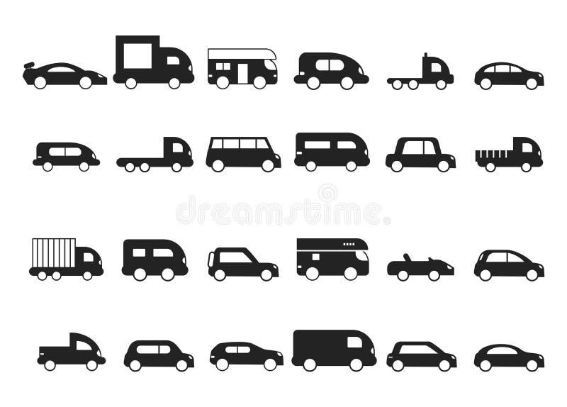 Значки автомобиля Пиктограммы черных изолированных силуэтов вектора минифургона suv тележки перехода иллюстрация штока