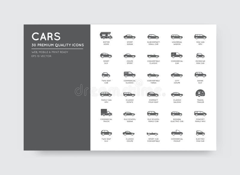 Значки автомобиля вектора установленные с всеми типами и именами автомобиля иллюстрация штока