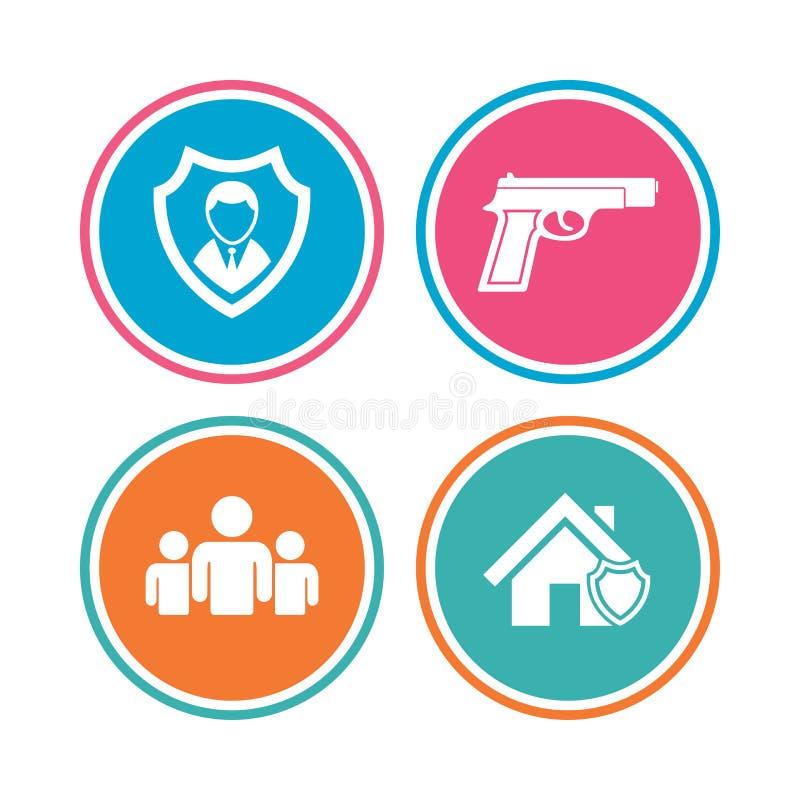 Download Значки агентства по безопасности Домашнее предохранение от экрана Иллюстрация вектора - иллюстрации насчитывающей метка, пистолет: 81805579