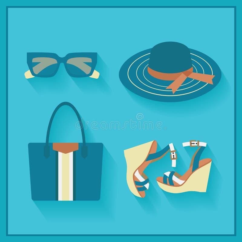Значки аксессуаров лета женщин модные иллюстрация вектора