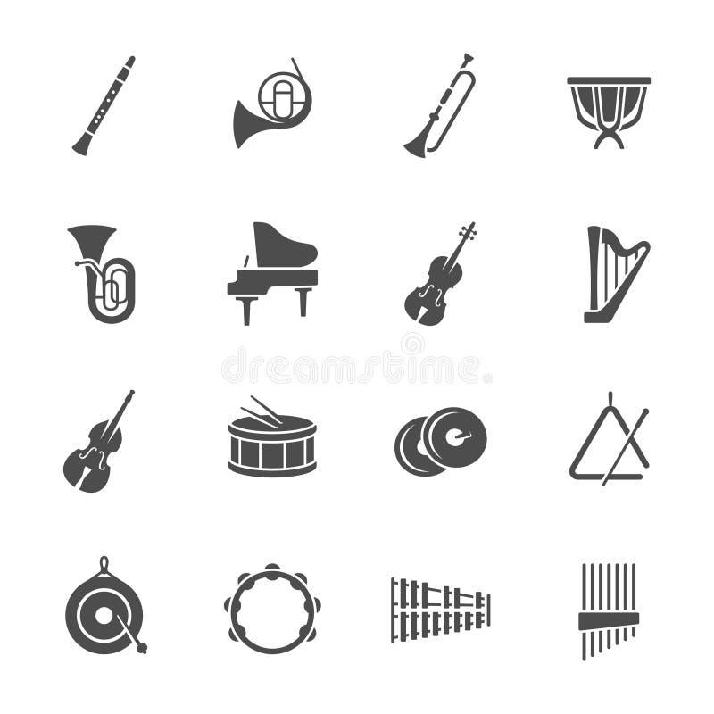 Значки аппаратур оркестра иллюстрация штока