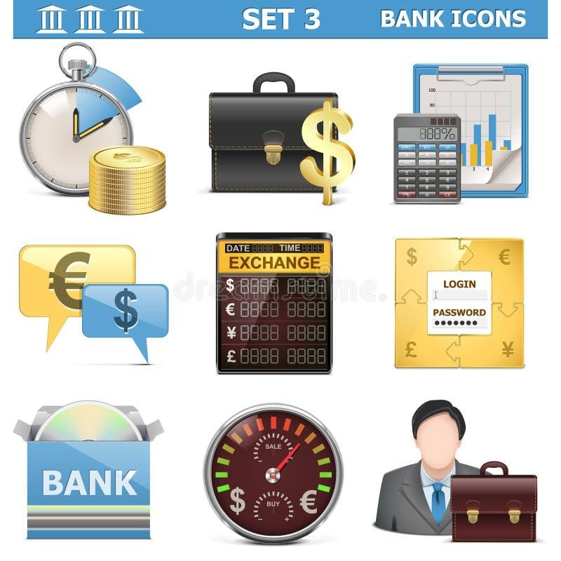 Значки банка вектора установили 3 иллюстрация вектора