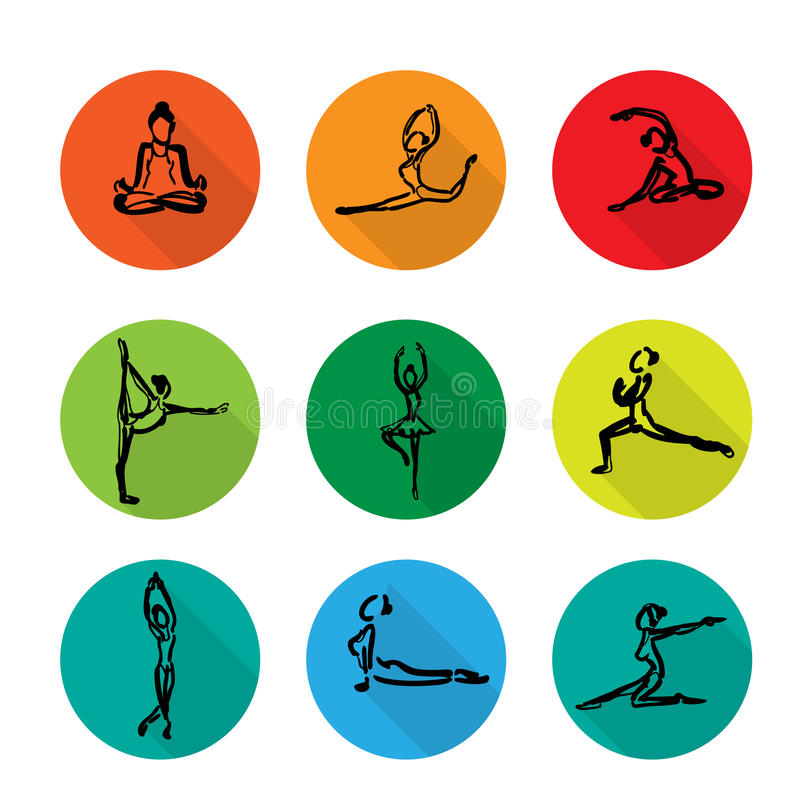 Значки балета йоги установили тень шаржа иллюстрация вектора