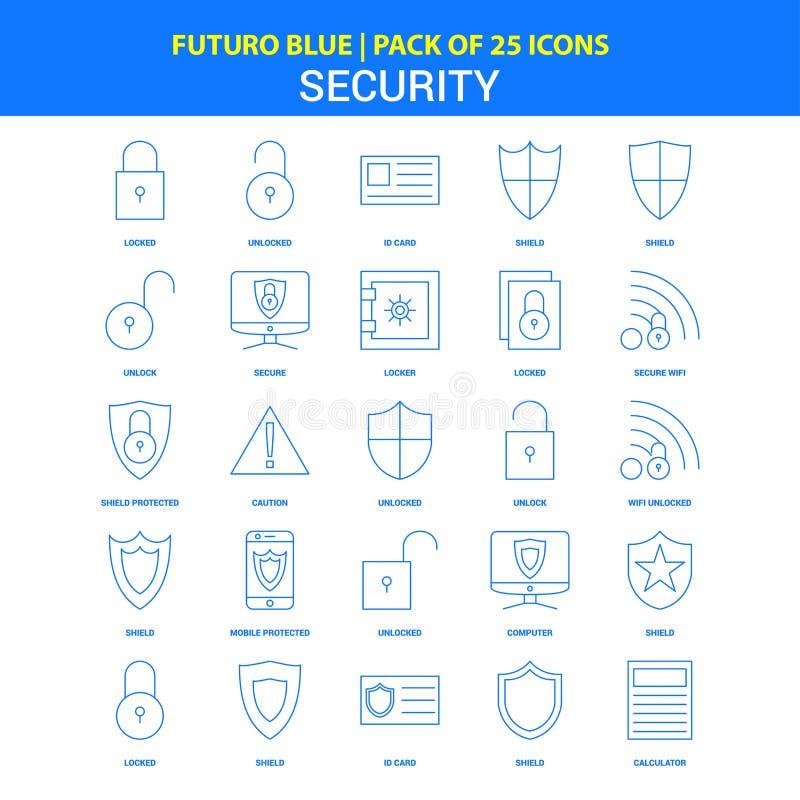 Значки безопасностью - пакет 25 значков Futuro голубой иллюстрация вектора