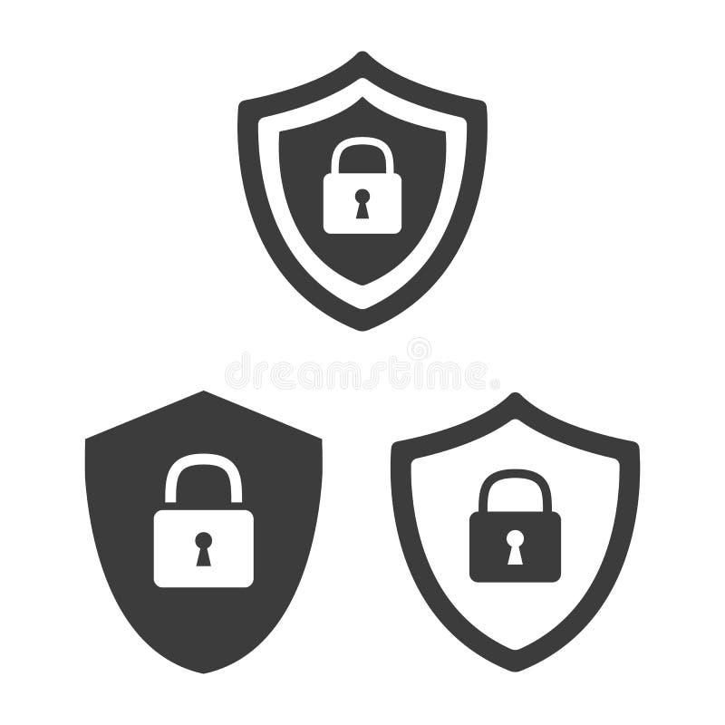 Значки безопасностью экрана плоские с символом замка стоковое изображение