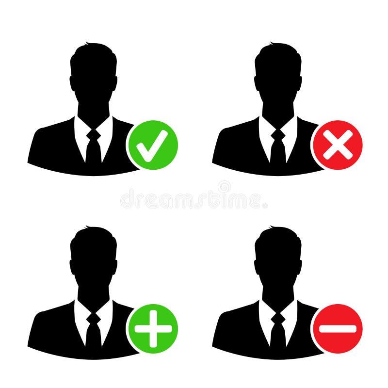 Значки бизнесмена с добавляют, уничтожают, признавают & преграждают знаки иллюстрация штока