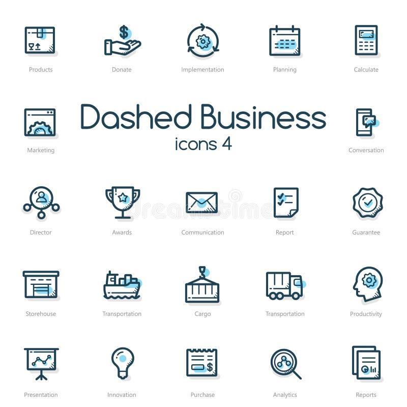 Значки бизнес-линии установленные с голубым акцентом иллюстрация вектора