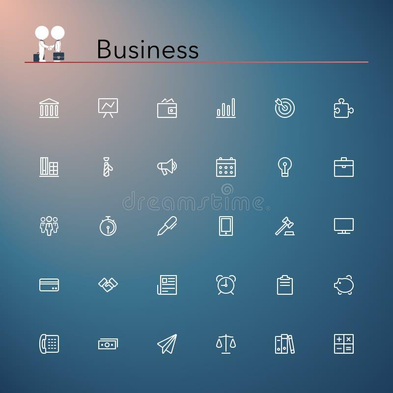 Значки бизнес-линии иллюстрация вектора