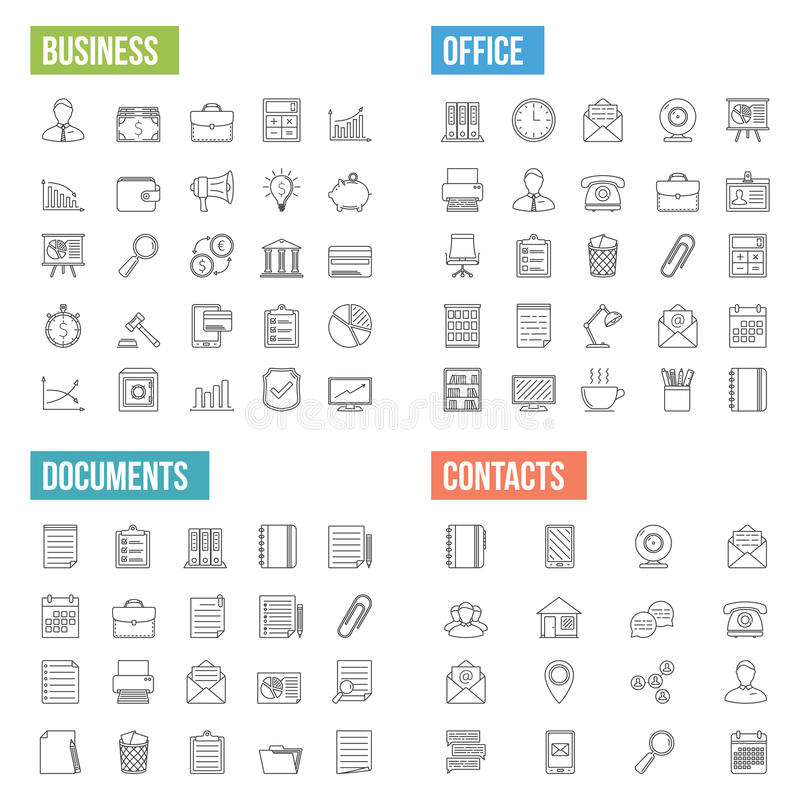 Значки бизнес-линии бесплатная иллюстрация