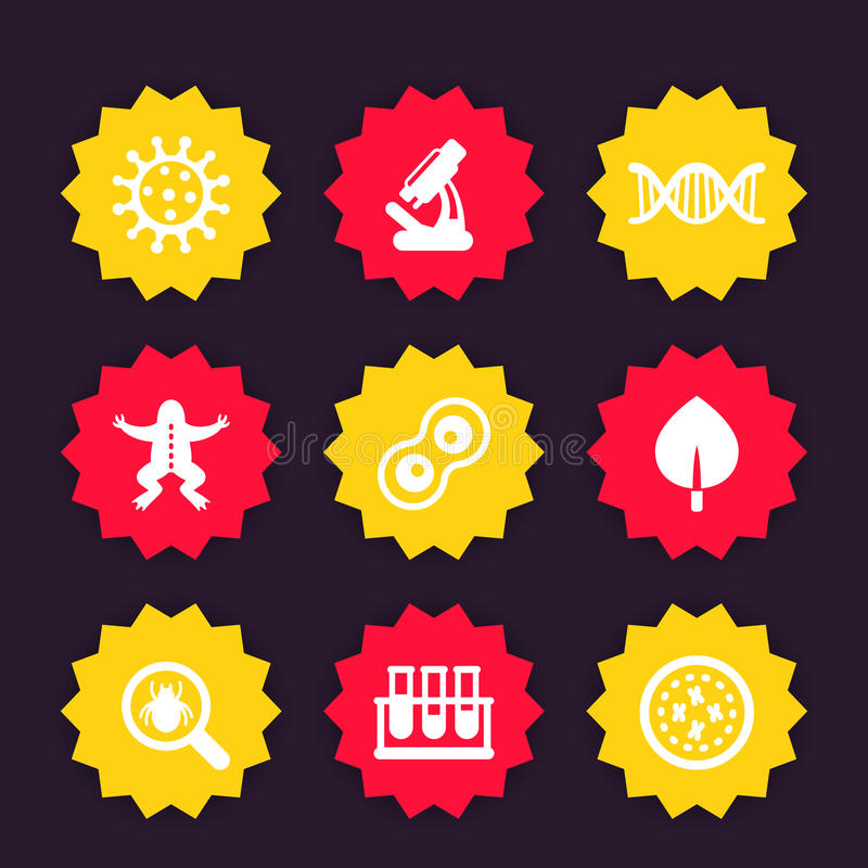 Значки биологии, микроскоп, пробирки, микробы бесплатная иллюстрация