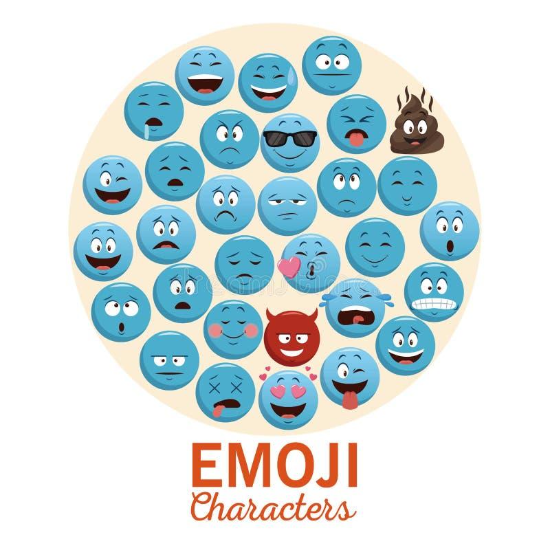 Значки болтовни Emojis иллюстрация вектора