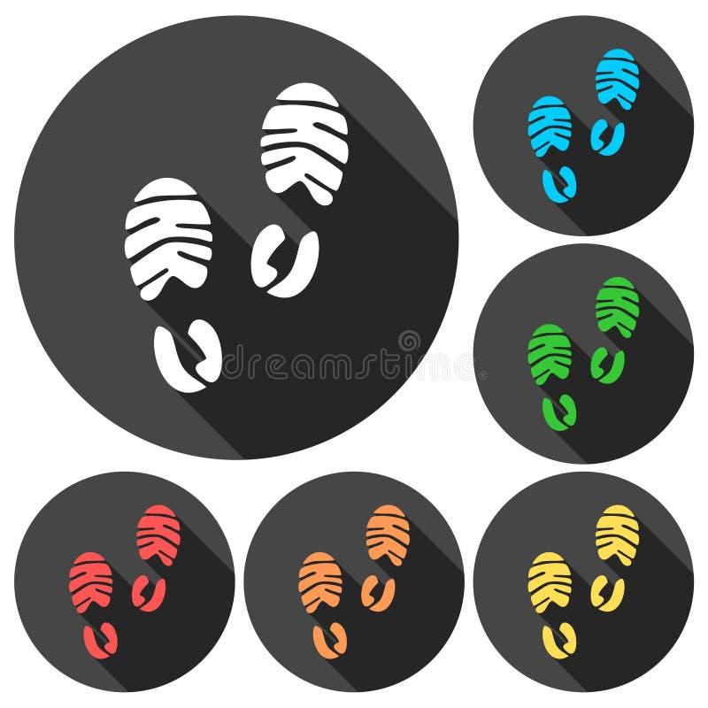 Значки ботинка спорта следа ноги установили с длинной тенью бесплатная иллюстрация